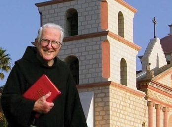 Fr. Virgil Cordano in front of the Santa Barbara Mission